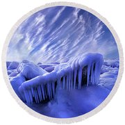 Round Beach Towel featuring the photograph Iced Blue by Phil Koch