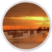 Iced Sunset Round Beach Towel