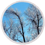 Iced Trees Round Beach Towel