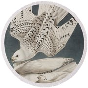 Iceland Falcon Or Jer Falcon Round Beach Towel by John James Audubon