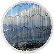 Iceland Harbor And Mountains Round Beach Towel by Joe Bonita