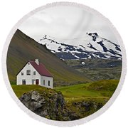 Iceland House And Glacier Round Beach Towel