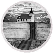 Iceland Ingjaldsholl Church And Mountains Black And White Round Beach Towel