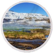 Round Beach Towel featuring the photograph Iceland Landscape Geothermal Area Haukadalur by Matthias Hauser