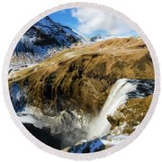 Round Beach Towel featuring the photograph Iceland Landscape With Skogafoss Waterfall by Matthias Hauser
