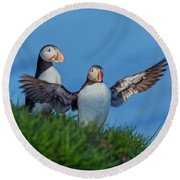 Iceland Puffin Paradise Round Beach Towel