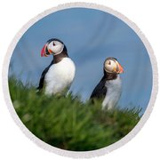 Iceland Puffins By The Sea Round Beach Towel