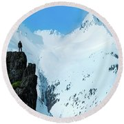 Iceland Snow Covered Mountains Round Beach Towel