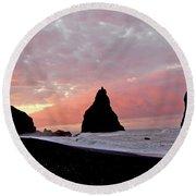 Iceland Sunrise Round Beach Towel