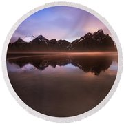 Iceland Sunset Reflections Round Beach Towel