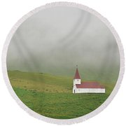 Icelandic Chapel Round Beach Towel by Joe Bonita