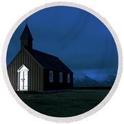 Round Beach Towel featuring the photograph Icelandic Church At Night by Dubi Roman