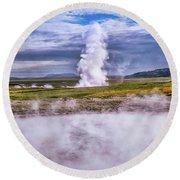 Icelandic Hydrothermal Activity Round Beach Towel