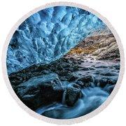 Icelandic Ice Cave Round Beach Towel