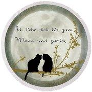 Round Beach Towel featuring the digital art Ich Liebe Dich Bis Zum Mond Und Zuruck  by Linda Lees