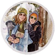 Round Beach Towel featuring the painting Icicle by Anne Gifford