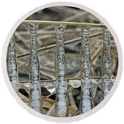 Round Beach Towel featuring the photograph Icicles On A Stick by Glenn Gordon