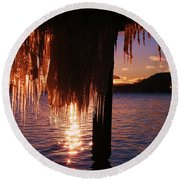 Icicle Stars Sunset Round Beach Towel