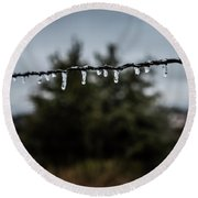 Round Beach Towel featuring the photograph Icicles On Wire by Karen Slagle