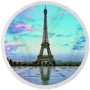 Icon Of Paris Round Beach Towel