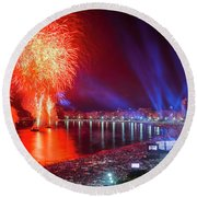 Iconic And Breath-taking Fireworks Display On Copacabana Beach,  Round Beach Towel