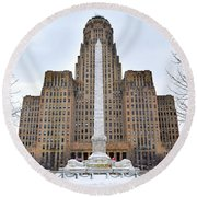 Round Beach Towel featuring the photograph Iconic Buffalo City Hall In Winter by Nicole Lloyd