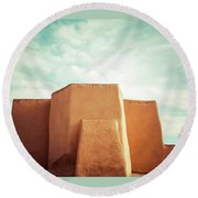 Round Beach Towel featuring the photograph Iconic Church In Taos by Marilyn Hunt