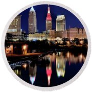 Iconic Night View Of Cleveland Round Beach Towel