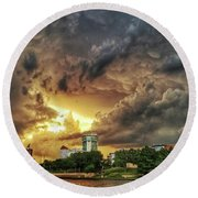 Ict Storm - From Smrt-phn L Round Beach Towel