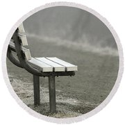 Icy Bench In The Fog Round Beach Towel