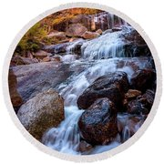 Icy Cascade Waterfalls Round Beach Towel