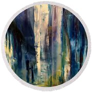Icy Cavern Abstract Round Beach Towel