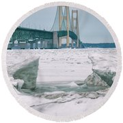 Round Beach Towel featuring the photograph Icy Day Mackinac Bridge  by John McGraw