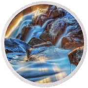 Icy Eagle Falls Round Beach Towel