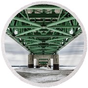 Round Beach Towel featuring the photograph Icy Mackinac Bridge In Winter by John McGraw