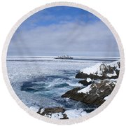 Icy Ocean Slush Round Beach Towel