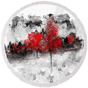 Icy Red Landscape Round Beach Towel