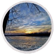 Round Beach Towel featuring the photograph Icy River by Cricket Hackmann