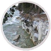 Icy Shores Round Beach Towel by Greta Larson Photography
