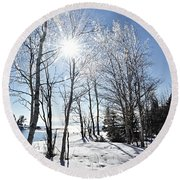Icy Sunburst Round Beach Towel