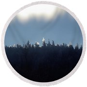 Icy Sunrise Round Beach Towel