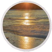 Icy Sunset Round Beach Towel