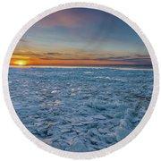 Icy Sunset Round Beach Towel