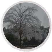 Icy Tree Round Beach Towel