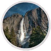 Icy Upper Yosemite Falls Round Beach Towel