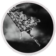 Icycling On A Cloudy Day  Round Beach Towel