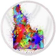 Idaho Map Color Splatter Round Beach Towel