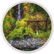Idaho Springs Water Wheel Round Beach Towel