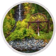 Idaho Springs Water Wheel Round Beach Towel