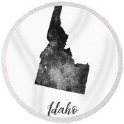 Idaho State Map Art - Grunge Silhouette Round Beach Towel